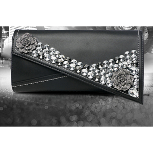 Image 2 - Female Flower diamond evening bag Genuine Leather women clutch bag female fashion handbag Ladies shoulder bag purse envelope bag
