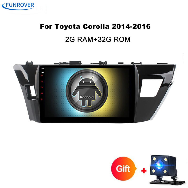 Funrover Android 8.0 Car dvd player for Toyota corolla 2014 2015 gps navigation 2 din radio multimedia player 2G+32G QuadCore FM