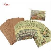 50Pcs Set Vintage Wedding Candy Box Kraft Paper World Map Gift Bag For Wedding Favors And