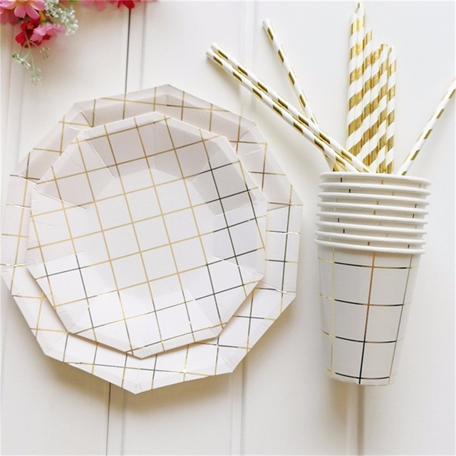 Nordic Style Simple Gold Disposable Tableware Party Paper Plates Cups Baby Shower Favor Birthday Party Paper  sc 1 st  AliExpress.com & Nordic Style Simple Gold Disposable Tableware Party Paper Plates ...