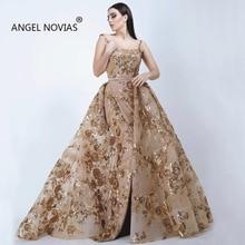 Angel Novias Long Women Gold Embroidery Evening Dress 2019