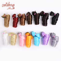 Cataleya, peluca de cabello SD BJD negro rizado, marrón, plateado, Multicolor, 15*100cm, 30*100cm, para muñecas DIY, envío gratis
