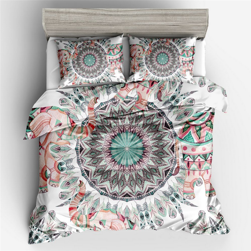 Bohemian Print Bedding Set King Soft Bedclothes Queen Size Mandala Duvet Cover Set With Pillowcases 3pcs Bed Set Home