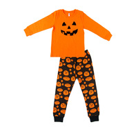 2017 Kids Halloween Clothes Sets For Boys Girls Pumpkin Head Print Long Sleeve T Shirts Pants