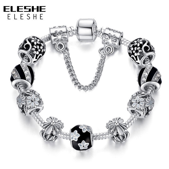 Authentic Enamel Silver Plated Crystal Beads Charm Bracelet For Women With Safety Chain Strand Bracelet Bangle Mother's Day Gift