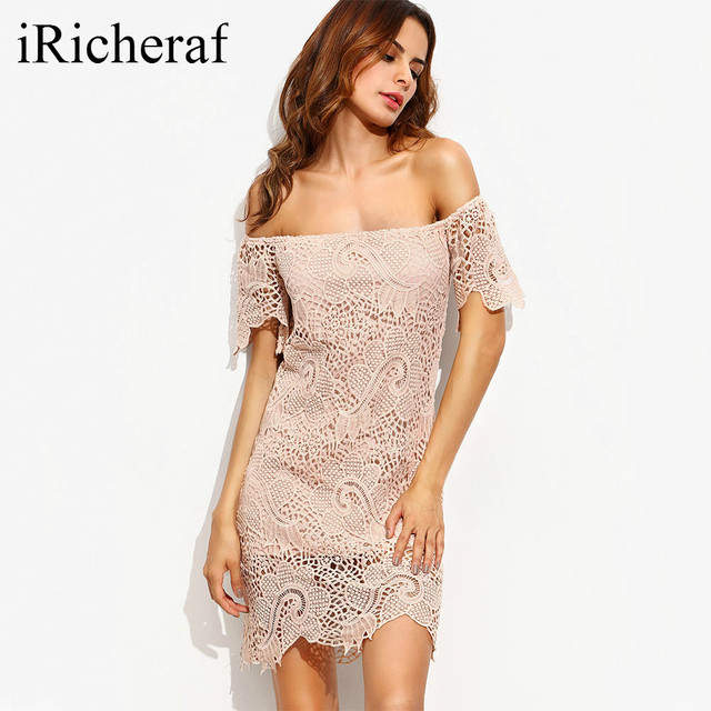 1b116b5be87 Off Shoulder Dresses Sexy Slash Neck Lace Short Sleeve Loose Mini Dress  Summer New Elegant Solid Vestido Feminino Pink Hot Sale