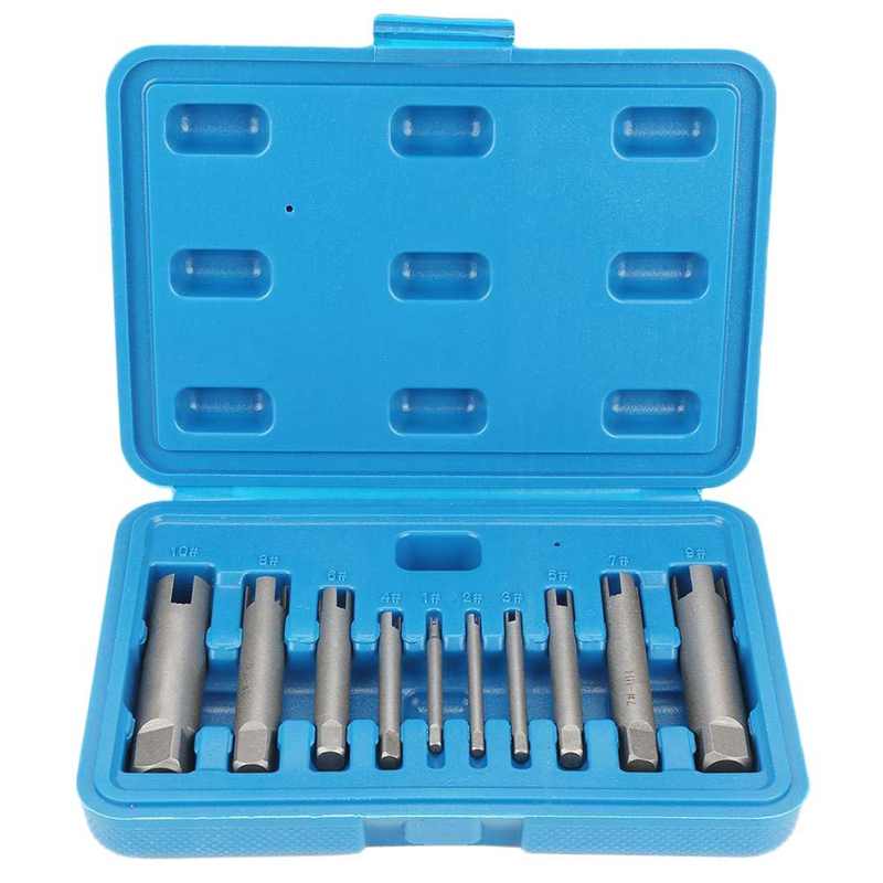 10 Piece Set M4 M24 Broken Tap Extractor Guide Set Broken Wire Screw Remover Tool Screw Extractor Wrench Set Drill Bit