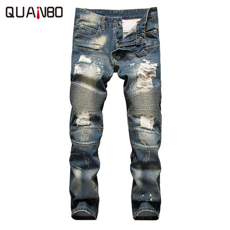 Retro colors jeans homme 2018 new Europe funky hole patches distressed jeans  slim fit straight leg rock jeans Hot Sale