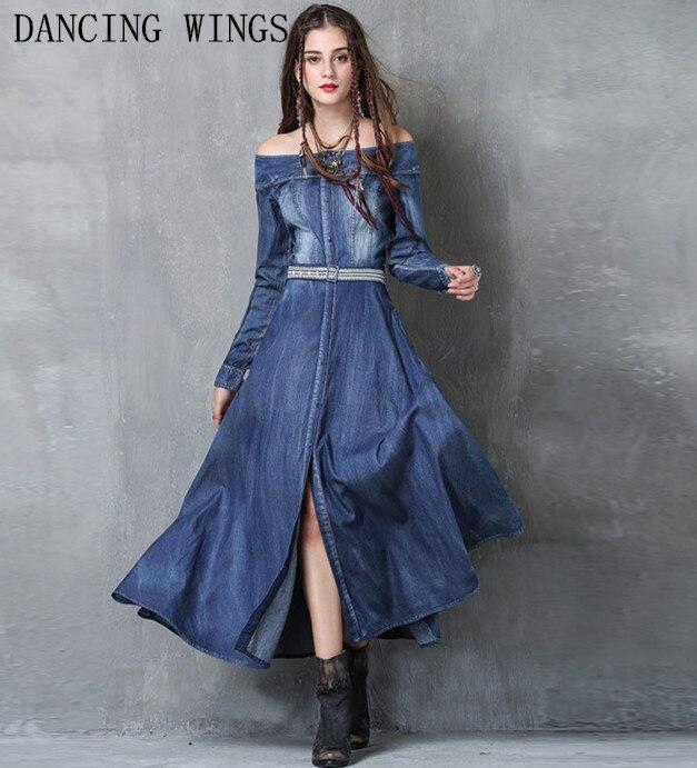 Vestidos mujer 2018 Винтаж вышивка с длинным рукавом Однобортный поясом Vestidos Для женщин сексуальная Slash шеи Разделение джинсовые платья