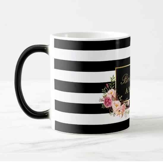 d9d8cd5ccf8 ... New Stylish Bridesmaid Personalised Floral Magic Mug Elegant Black  White Stripe Bridal Party Gift Custom Wedding ...