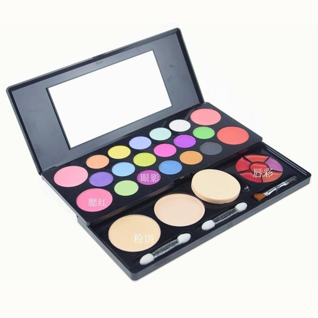 Pro 28 colores de sombra de ojos en polvo de maquillaje paleta Bastante sombra de ojos brillo de labios Colorete espejo Colección Mujeres Cosmética Facial kit