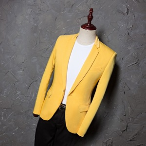 Image 3 - PYJTRL Mens Classic Plus Size 5XL Yellow Suit Jacket Fashion Casual Blazer Designs Costume Homme Stage Clothes For Singers