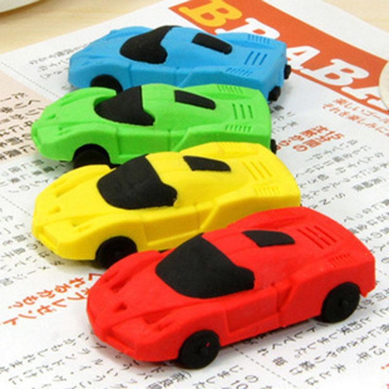 Super Cute 1pc Send Random Kawaii Children Sports Car Pencil Erasers Rubber Eraser For Kids School Office Supplies Kids Gift