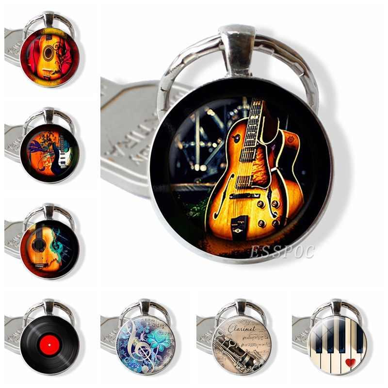 Гитара музыкальная стеклянная подвеска брелок-гитара брелок для ключей музыкальный инструмент ювелирные изделия музыкальный любитель подарок ученика
