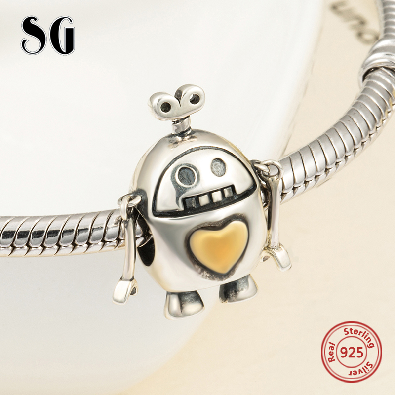 2018 SG New arrival Cute robot Beads Fit pandora Charms Bracelets sterling Silver 925 diy fashion Jewelry making for men Gifts