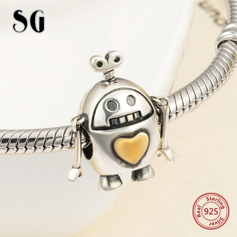 2018 SG Nouvelle arrivée Mignon robot Perles Fit pandora Charms Bracelets sterling Argent 925 bricolage Bijoux de mode de décision pour hommes cadeaux