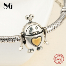 SG New arrival Cute robot Beads Fit pandora Charms Bracelets sterling Silver 925 diy fashion Jewelry making for men Gifts