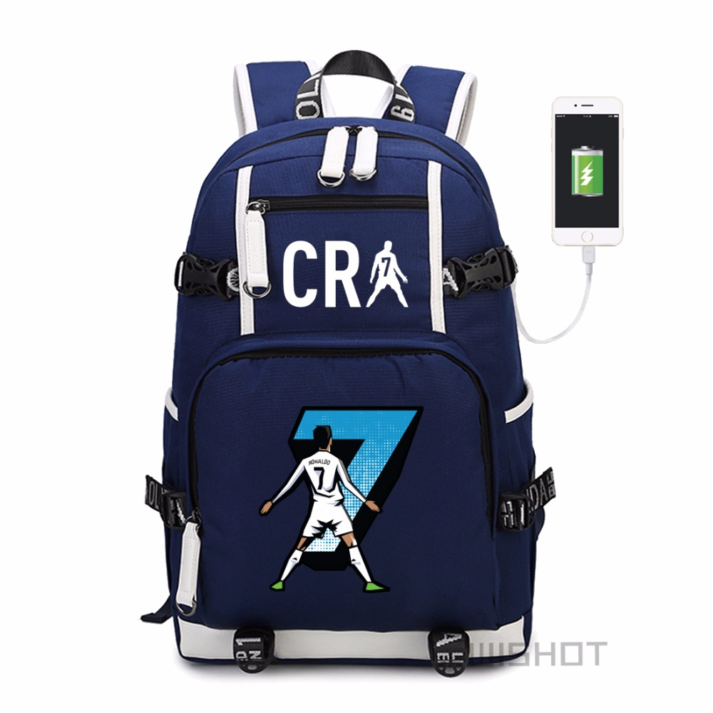 Wishot Cristiano Ronaldo  Backpack Shoulder Travel School Bag  For Teenagers  Casual With Usb Charging Port Laptop Bags