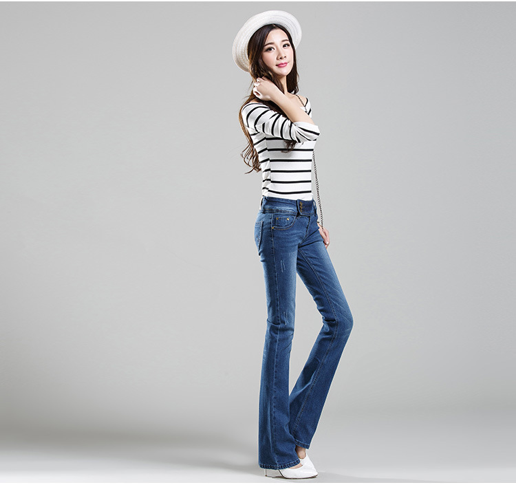 2017 spring and autumn Fashion casual plus size high waist female women girls micro flare pants jeans clothes 79038 high tech and fashion electric product shell plastic mold