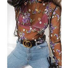 Женские милые сетчатые футболки с цветочной вышивкой, сексуальные прозрачные Футболки с длинным рукавом, женские брендовые топы, блузы