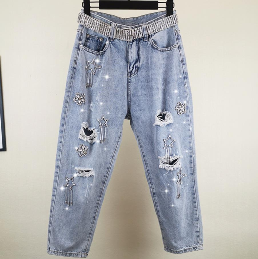 Jeans femmes 2019 printemps et été nouveau lâche droite lourde travail strass chaîne trou taille haute cheville longueur jeans