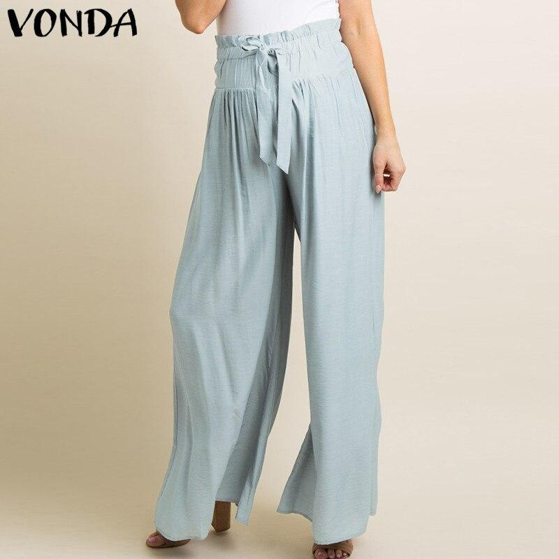 Women Wide Leg Pants 2018 Summer Casaul Loose Elastic Waist Solid Trousers Elegant Female Plus Size Capris Bottoms Oversize 5XL