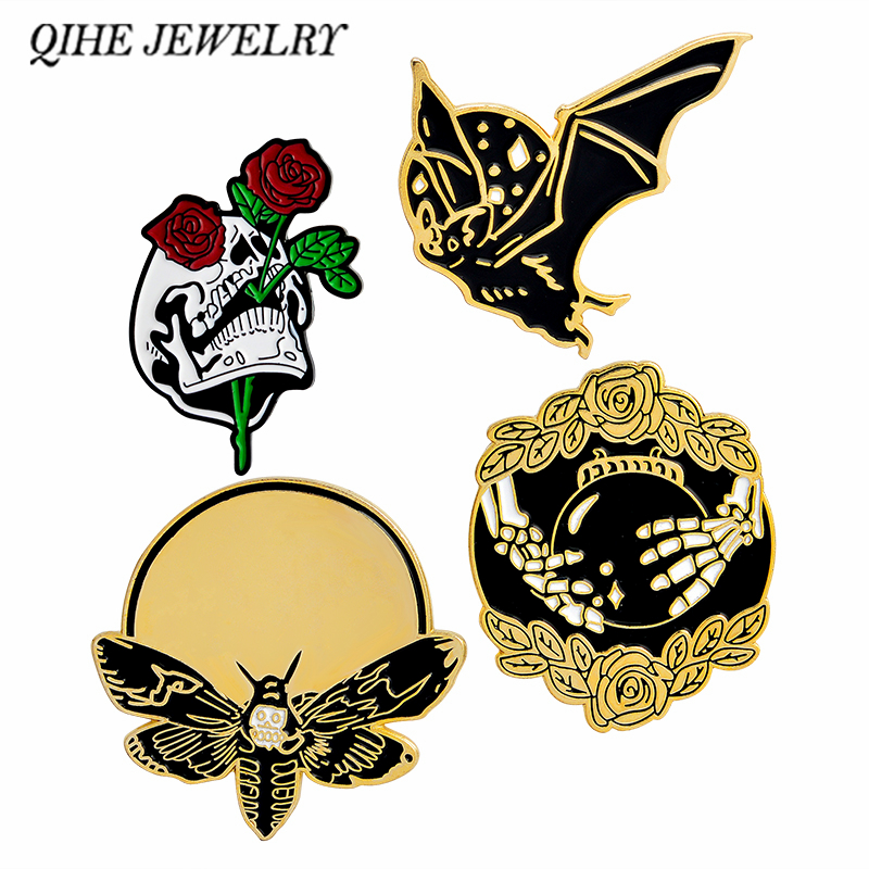 QIHE JEWELRY Bat Bee Rose Skull Hand with crystal ball Skeleton pin Brooch Enamel lapel pin Backpack Jeans Punk pins collection