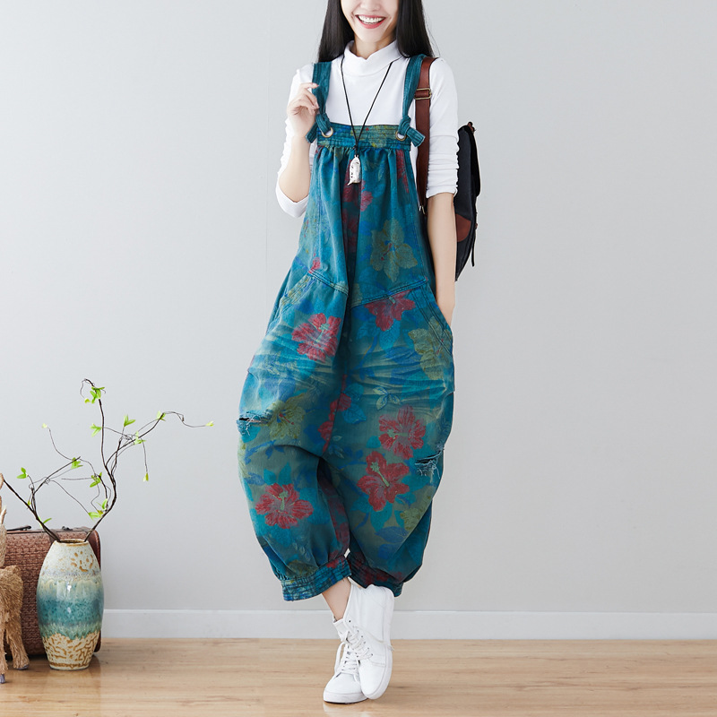 2019 Autumn New Vintage Seven Cent Lantern Trousers Casual Korean Pockets Floral Print Ripped Jeans Womens Jumpsuits