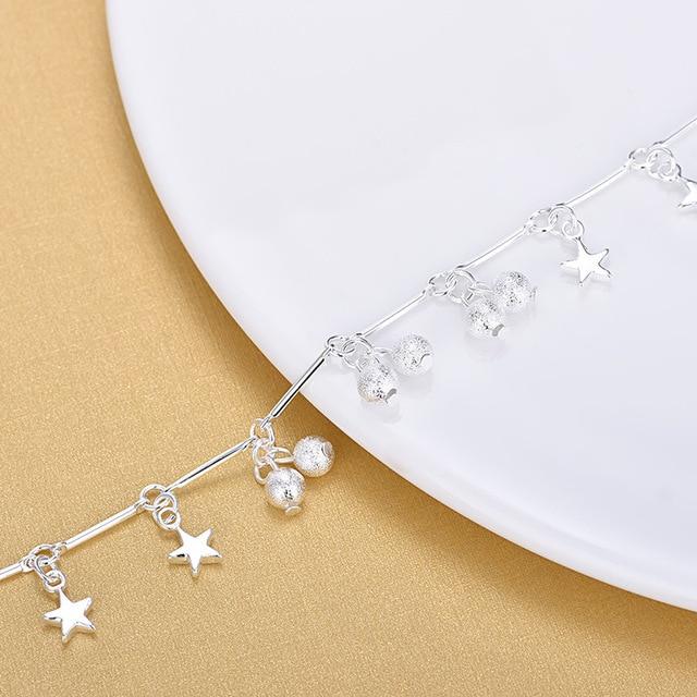 925 Стерлинговое Серебро матовые бусины амулетные браслеты модные