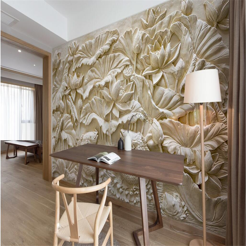 beibehang Custom Photo Wallpaper Wall Sticker Stone Carving Lotus Carpet Background wallpaper for walls 3 d papel de parede beibehang photo wall mural 3d wall paper custom retro rose lily background wallpaper papel de parede 3d wallpaper for walls 3 d