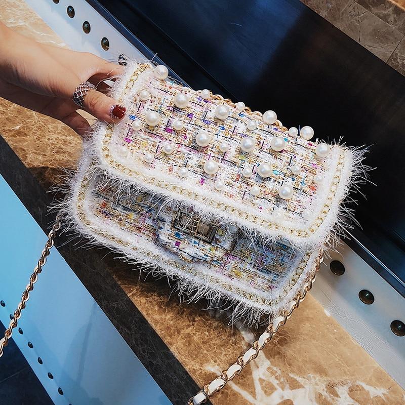 Winter Fashion Crossbody Bag For Women 2018 Wool Fur Plush Bag Women Mini Pear Chains Wool Shoulder Bag Tweed Messenger Bag цена 2017