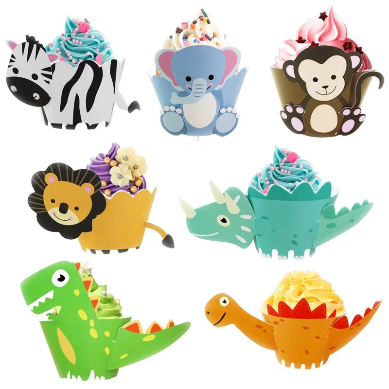 12pcs/pack 2019 New Cartoon Dinosaur Animal DIY Cake Decoration Paper Cupcake Wrappers Box For Birthday Party Decorations Kids image