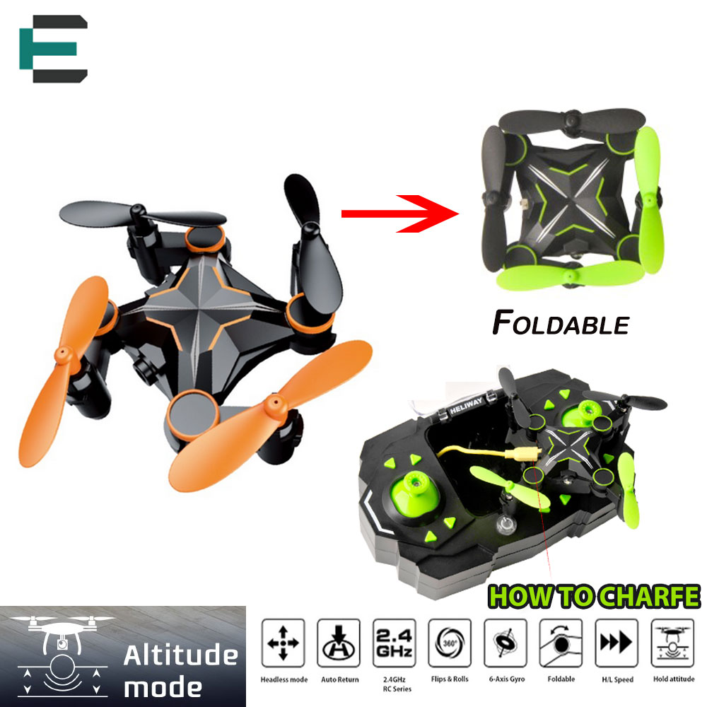 ET RC Drone Mini Foldable LED Light 6 Axis Gyro Altitude Hold Headless RC Quadcopter Mini Pocket Flying Orange/Green HENGQI 901H