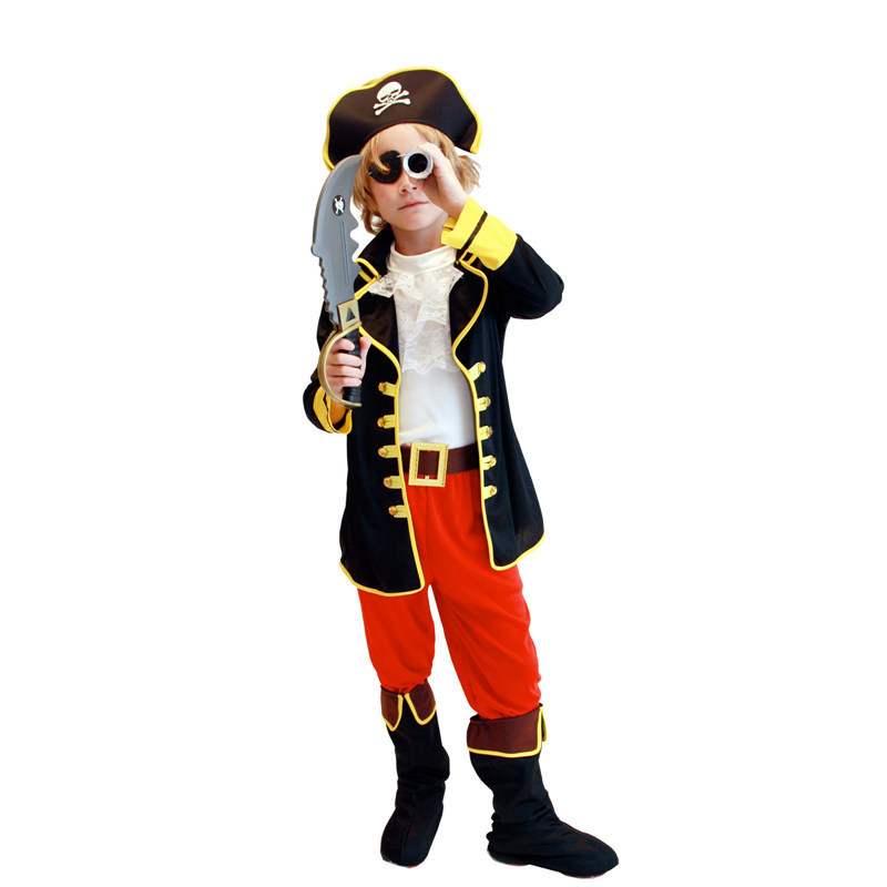 Kids Boys One-eyed Pirate Halloween Costumes Party Cosplay Clothing Set Children Christmas Halloween Masquerade Stage Clothes halloween party pirate capain jack cosplay boy clothing halloween costume for kids children performance stage costumes