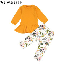 Waiwaibear Baby Kids Sets Baby Long-sleeved Tops +Pants 2PCS Outfit Sets Baby Girls Set Infant Kids Clothes Children's Clothing стоимость