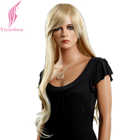 Yiyaobess 28inch Long Blonde Wig With Bangs Natural Synthetic Wavy Hair Wigs For Women Japanese Fiber