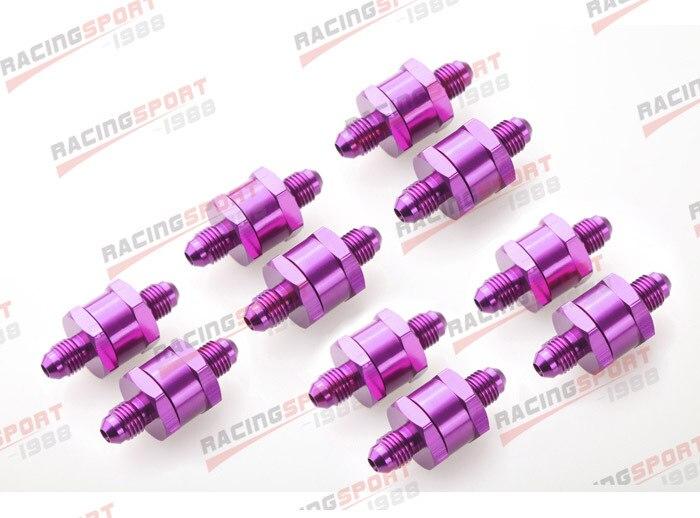10 pièces 4AN Carburant Retour Un Clapet anti-Retour Essence Diesel D'alliage D'aluminium OWV-06-PURPLE-10
