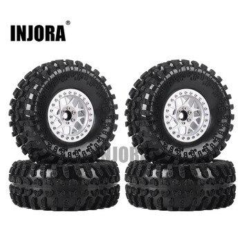 INJORA 4PCS 2.2 Inch Beadlock Wheel Rims & Rubber Tire for 1/10 RC Rock Crawler Axial SCX10 RR10 AX10 Wraith 90048 90018 KM2 2