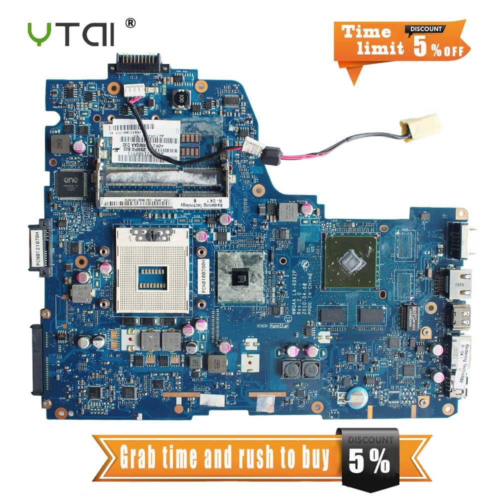 YTAI K000105880 for Toshiba Satellite A660 A665 laptop Motherboard HM55 DDR3 NWQAA LA-6062P REV:2.0 Mainboard fully tested h000023260 laptop motherboard for toshiba satellite u500 intel hm55 pn 08n1 0ck4q00 rev 2 1 with graphics slot mainboard