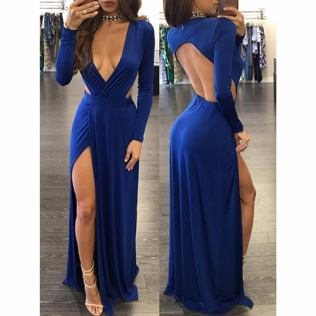 b2e2d3bad3 Blue Color Deep V Neck Long Sleeve Waist Backless Low Cut Women Elegant  Party Club Maxi