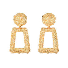 ZA Big Size Gold Metal Drop Earrings High Quality Statement Earrings Jewelry Accessories For Women Sales Promotion Wholesale(China)