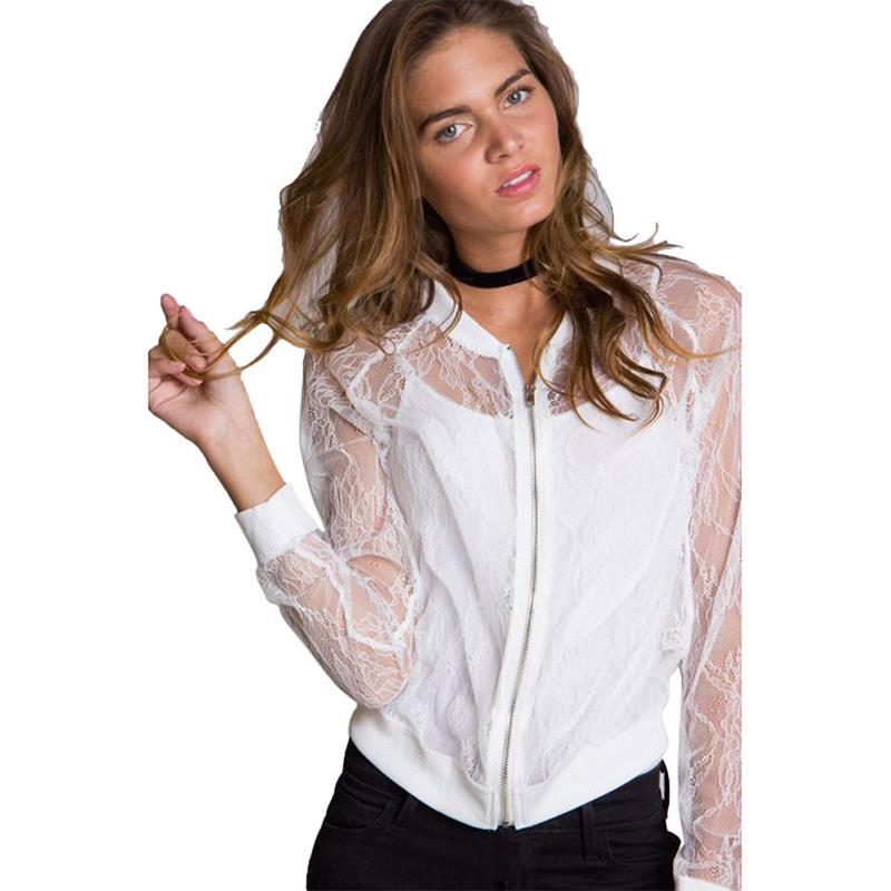 Women Coats Black Transparent Sexy Lace   Jacket   Long Sleeve Zipper Coat   Basic     Jacket   Sunscreen Streetwear WS1415O