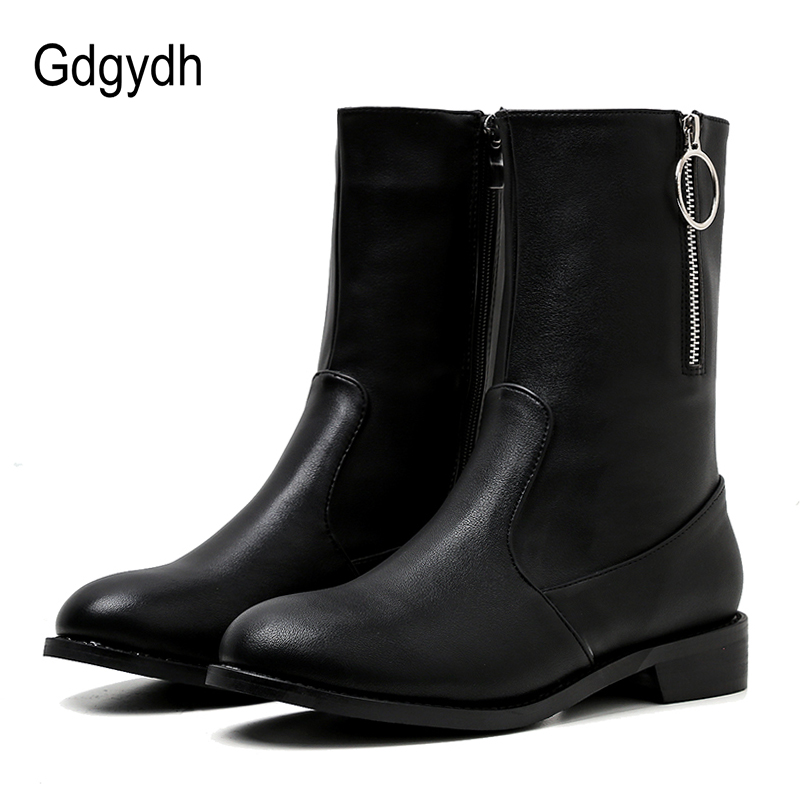 Gdgydh 2018 Autumn Women Mid Calf Boots Leather Black Round Toe Ladies Shoes Female Square Heels Shoes Platform Heels Short Boot gdgydh women platform heels ankle boots zipper high heels female booties shoes black round toe ladies shoes big size 2018 autumn