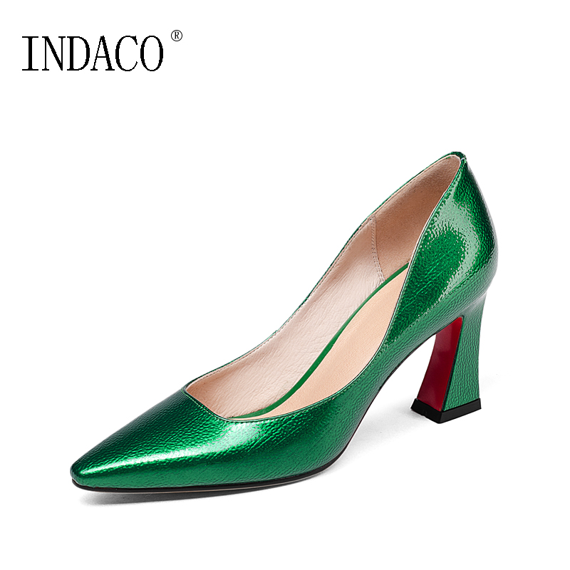 a1d4115bf25 US $47.61 31% OFF|Spring Luxury Green Gold Black Pumps Office OL Style  Shoes Red Bottoms for Women Heels 8cm-in Women's Pumps from Shoes on ...