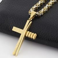 Fashion Jewellery Classical Cross Necklace Crucifix Pendant Men Gold Silver Stainless Steel Fashion Jewelry