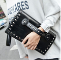 Hot Sales! New fashion 2015  women PU envelope bag black Rivet  bag