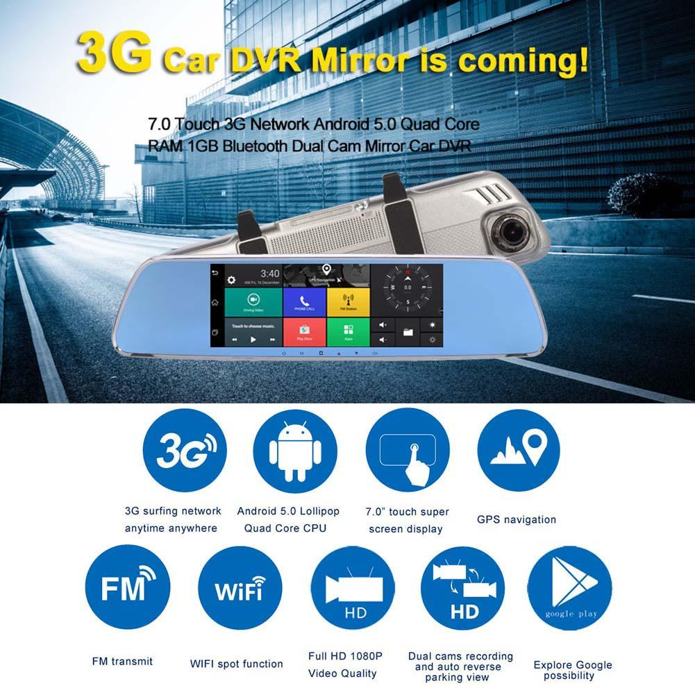 New Car DVR Mirror Auto Driving Recorder With 7 Full HD 1080P Smart Rear view Mirror Dash Camera 3G WIFI GPS For Android 5.0