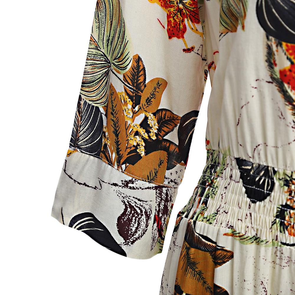VESTLINDA Vintage Dress Allover Floral Print Elestic Waist Split Long Dress V Neck 34 Sleeve Robe Femme Women 2017 Summer Dress 9