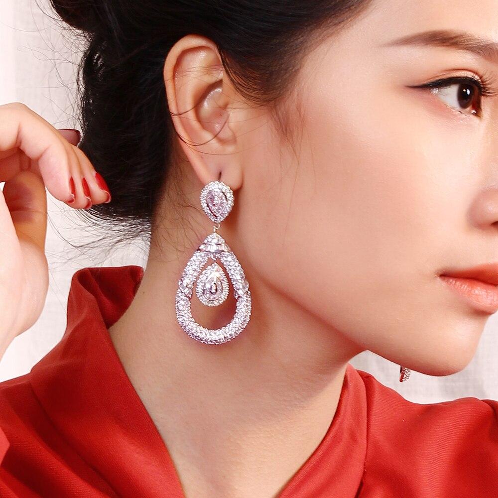 Très grandes boucles d'oreilles longues de 64cm pour la fête de mariage bijoux bontique bijoux de mariée couleur blanc et or femme grande boucle d'oreille goutte