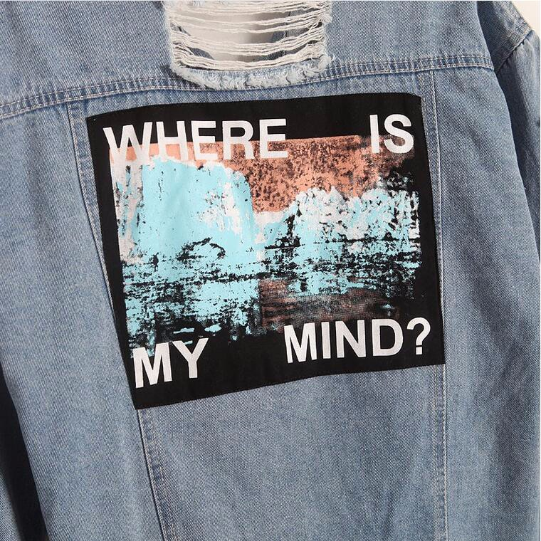 Where is my mind? Korea Kpop retro frayed embroidery letter patch women's denim bomber jacket Ripped Distressed Blue Coat Female 5